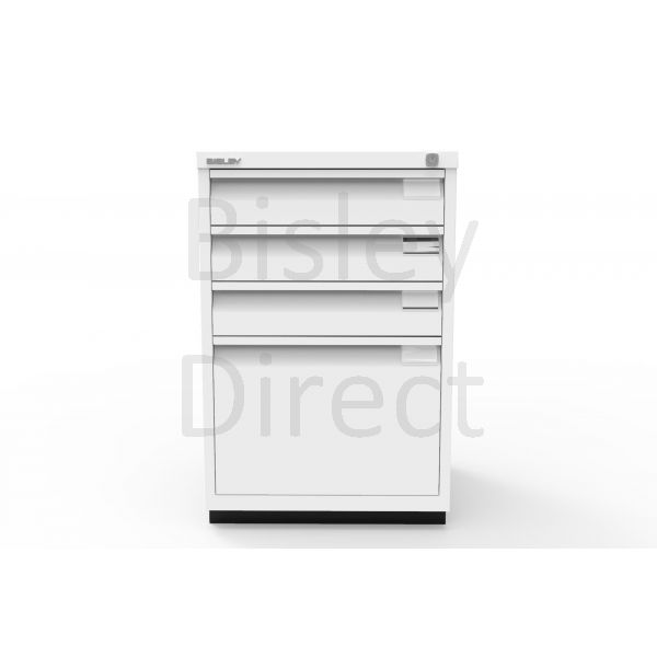 Bisley F Series 4 drawer filing cabinet Flush Front H 71 W 47 D 47cm  0503-ba5-TrafficWhite