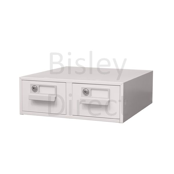131L-AV7-Light Grey Bisley FCB23- A7 Card Index 2 Locking Drawer 13cm High 38.4cm wide 40.3cm deep