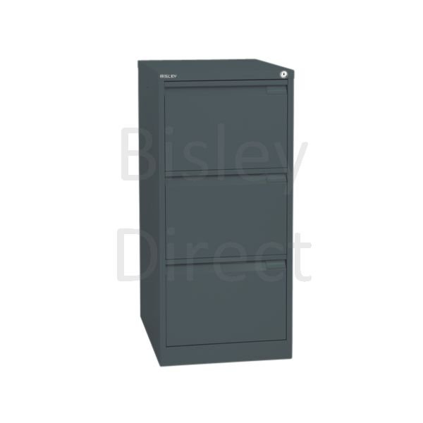 Bisley BS3A4 A4 3 drawer Filing Cabinet H 101 W 41 D 62cm 3633-aa3-Anthracite