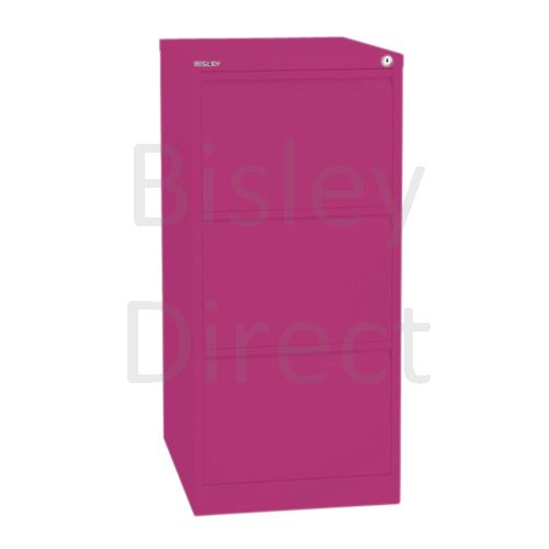 Bisley BS3A4 A4 3 drawer Filing Cabinet H 101 W 41 D 62cm 3633-be2-Fuschia