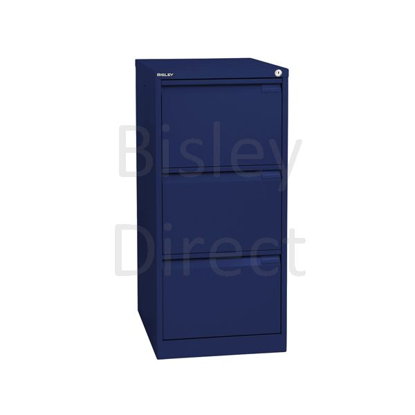 Bisley BS3E Flush Front Filing Cabinets 3 drawer H 101 W 47 D 62 cm 1633-ay7-OxfordBlue