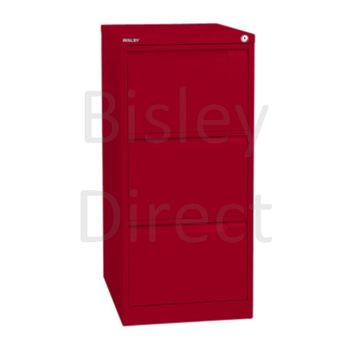 Bisley BS3A4 A4 3 drawer Filing Cabinet H 101 W 41 D 62cm 3633-ay8-CardinalRed