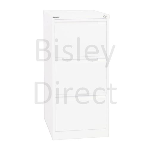 Bisley BS3A4 A4 3 drawer Filing Cabinet H 101 W 41 D 62cm 3633-ba5-TrafficWhite