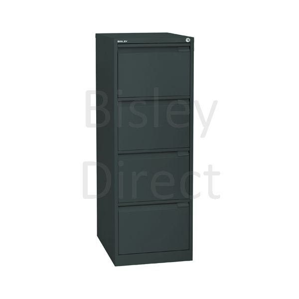 1643-aa3-Anthracite Bisley BS4E 4 Drawer Filing  132cm High 47cm wide 62.2cm deep