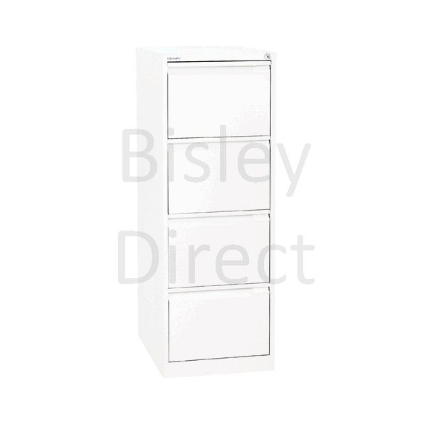 Bisley BS4E Flush Front Filing Cabinets 4 drawer H 131 W 47 D 62 cm 1643-ba5-TrafficWhite