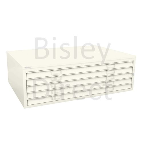 Bisley A0  5 drawer Mid Section Plan file (no top) H 40 W 136 D 93 cm 460-ab9-Chalk