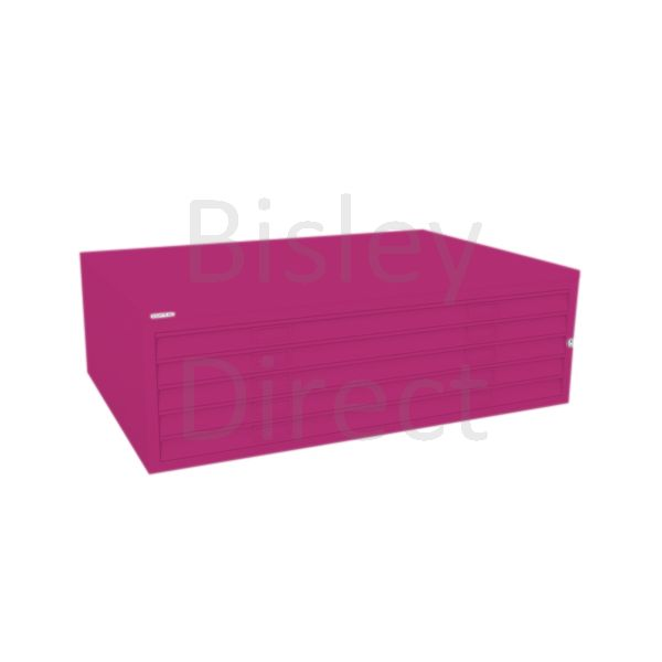 Bisley A0  5 drawer Mid Section Plan file (no top) H 40 W 136 D 93 cm 460-be2-Fuschia