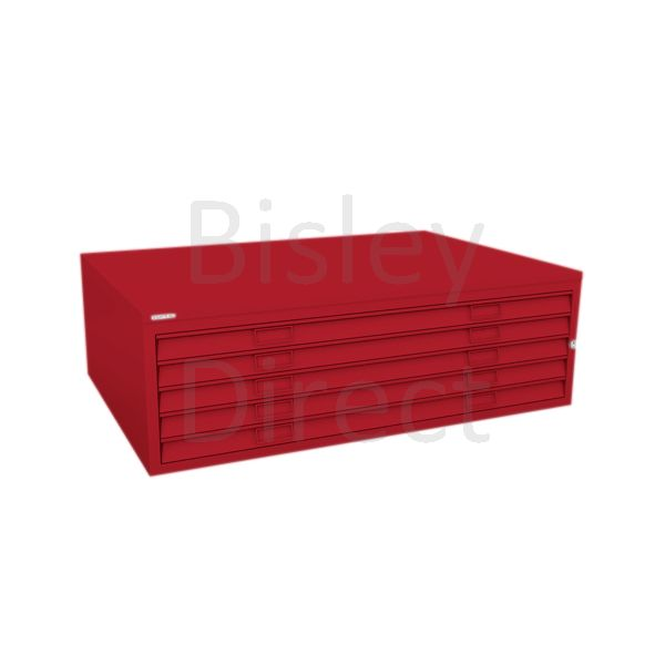 Bisley A0  5 drawer Mid Section Plan file (no top) H 40 W 136 D 93 cm 460-ay8-CardinalRed