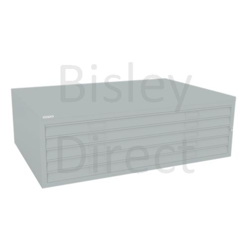 Bisley A0  5 drawer Mid Section Plan file (no top) H 40 W 136 D 93 cm 460-arn-Silver