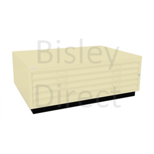 Bisley A0  5 drawer Plan file top with plinth  H 51 W 136 D 93 cm 463-av6-Cream