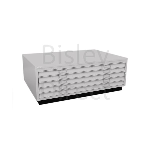Bisley A0  5 drawer Plan file top with plinth  H 51 W 136 D 93 cm 463-av4-GooseGrey