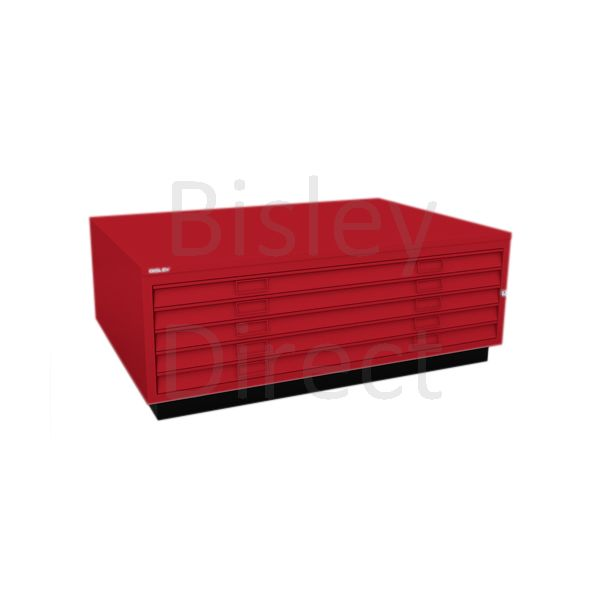 Bisley A0  5 drawer Plan file top with plinth  H 51 W 136 D 93 cm 463-ay8-CardinalRed