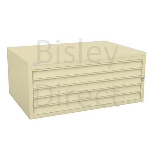 Bisley A1  5 drawer Plan file mid section no top or plinth  H 40 W 101 D 69 cm 470-av6-Cream