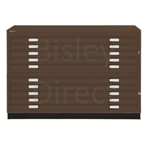 Bisley A1  10 drawer Plan file complete with top and plinth  H 91 W 101 D 69 cm 471/472-av5-Coffee