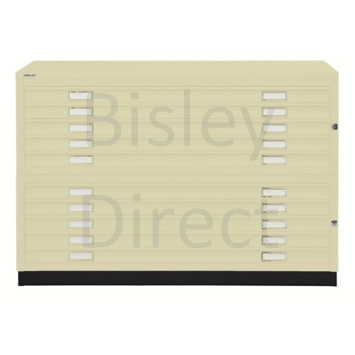 Bisley A1  10 drawer Plan file complete with top and plinth  H 91 W 101 D 69 cm 471/472-av6-Cream