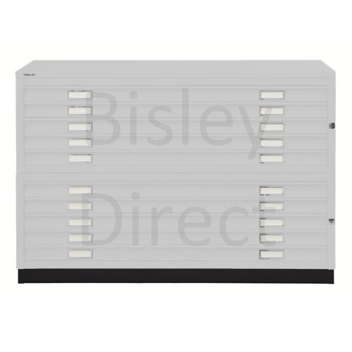 Bisley A1  10 drawer Plan file complete with top and plinth  H 91 W 101 D 69 cm 471/472-av7-LightGrey
