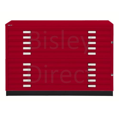 Bisley A1  10 drawer Plan file complete with top and plinth  H 91 W 101 D 69 cm 471/472-ay8-CardinalRed