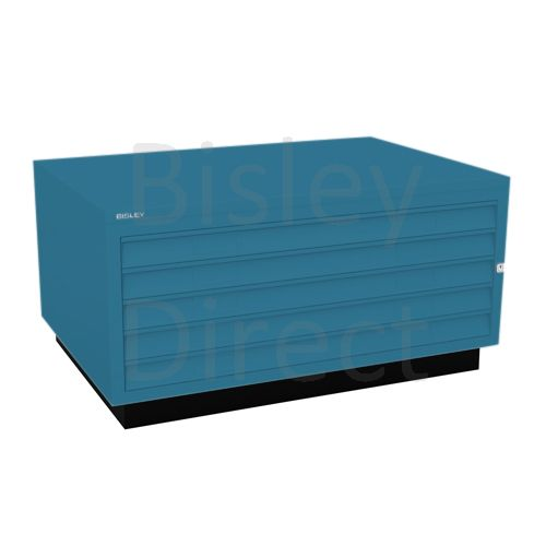 Bisley A1  5 drawer Plan file complete with top and plinth  H 51 W 101 D 69 cm 473-bp5-Azure