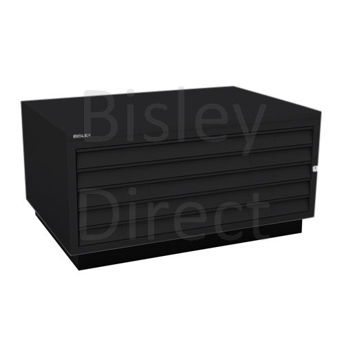 Bisley A1  5 drawer Plan file complete with top and plinth  H 51 W 101 D 69 cm 473-av1-Black
