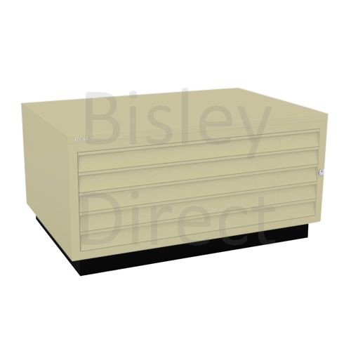 Bisley A1  5 drawer Plan file complete with top and plinth  H 51 W 101 D 69 cm 473-av6-Cream