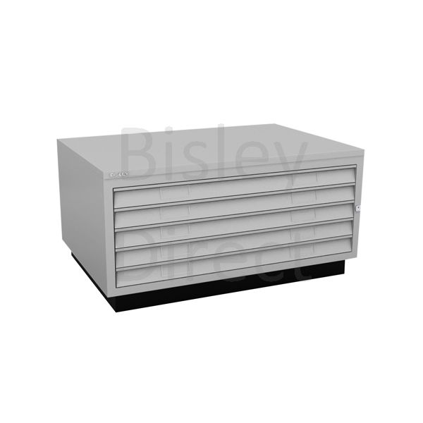 Bisley A1  5 drawer Plan file complete with top and plinth  H 51 W 101 D 69 cm 473-av4-GooseGrey
