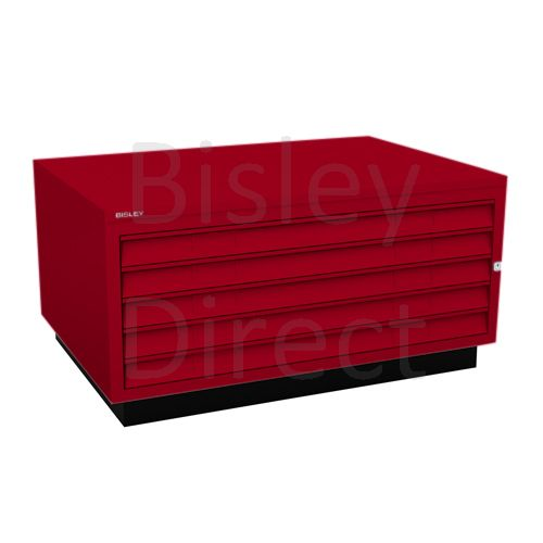 Bisley A1  5 drawer Plan file complete with top and plinth  H 51 W 101 D 69 cm 473-ay8-CardinalRed