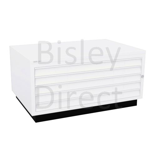 Bisley A1  5 drawer Plan file complete with top and plinth  H 51 W 101 D 69 cm 473-ba5-TrafficWhite