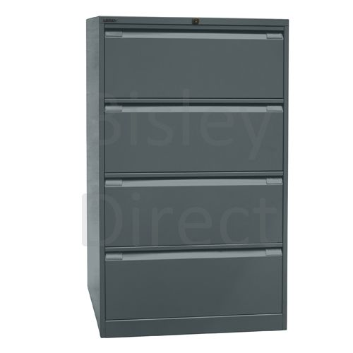 DF4-aa3-Anthracite Bisley Double A4 4  Drawer Filing 132cm High 80cm wide 62.2cm deep