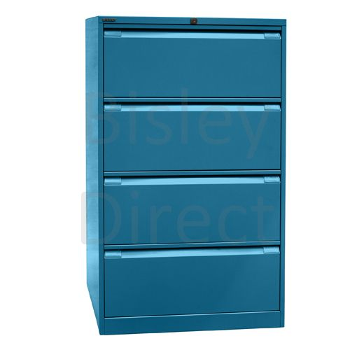 DF4-bp5-Azure Bisley Double A4 4  Drawer Filing 132cm High 80cm wide 62.2cm deep