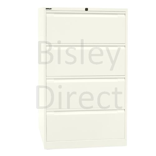 DF4-ab9-Chalk Bisley Double A4 4  Drawer Filing 132cm High 80cm wide 62.2cm deep
