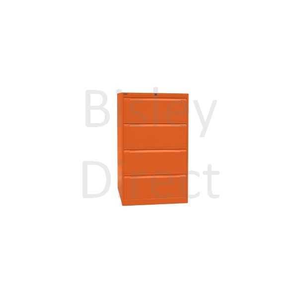 Bisley Mandarin Orange Double Filers 4 drawer  DF4-bq1 H 132.1 W 80 D 62.2 cm