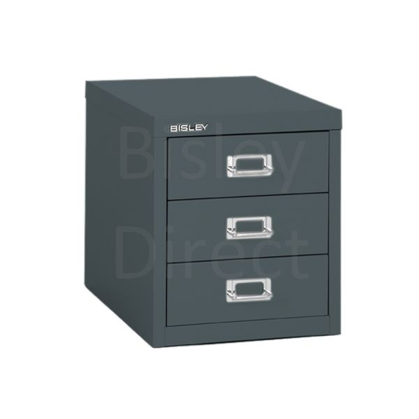 Bisley 3 Drawer non-locking  Multidrawer for home or office H 32.5 W 28 D 38 cm H123NL-aa3-Anthracite