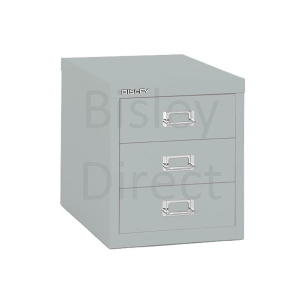 Bisley 3 Drawer non-locking  Multidrawer for home or office H 32.5 W 28 D 38 cm H123NL-arn-Silver