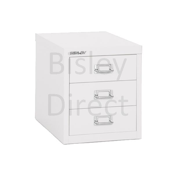 Bisley 3 Drawer non-locking  Multidrawer for home or office H 32.5 W 28 D 38 cm H123NL-ba5-TrafficWhite