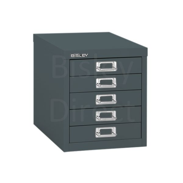 Bisley 5 Drawer non-locking  Multidrawer for home or office H 32.5 W 28 D 38 cm H125NL-aa3-Anthracite