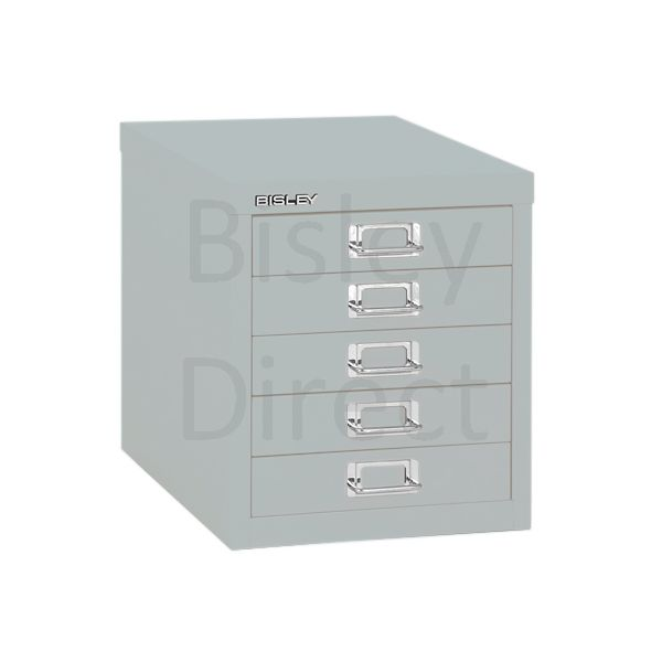 Bisley 5 Drawer non-locking  Multidrawer for home or office H 32.5 W 28 D 38 cm H125NL-arn-Silver