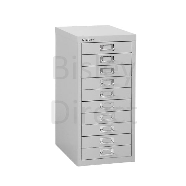 Bisley 10 Drawer non-locking  Multidrawer for home or office H 59 W 28 D 38 cm H2910NL-av4-GooseGrey