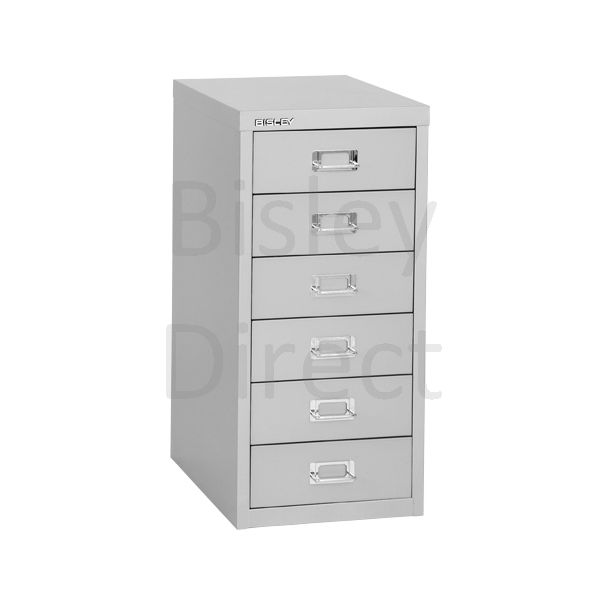 Bisley 6 Drawer non-locking  Multidrawer for home or office H 59 W 28 D 38 cm H296NL-av4-GooseGrey