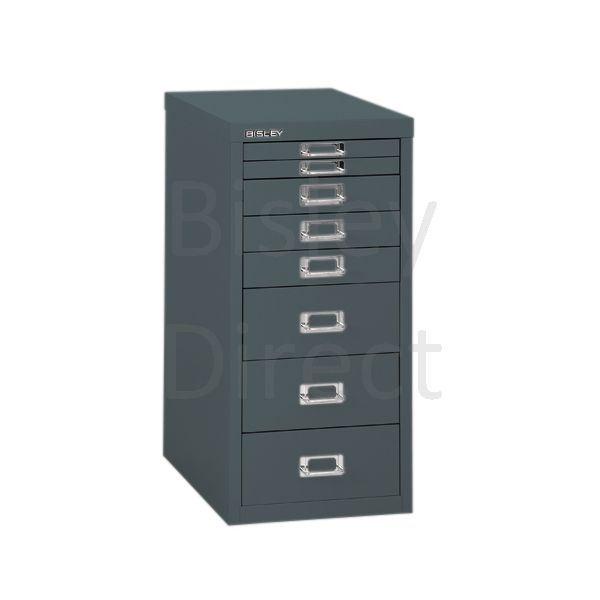Bisley 8 Drawer non-locking  Multidrawer for home or office H 59 W 28 D 38 cm H298BNL-aa3-Anthracite
