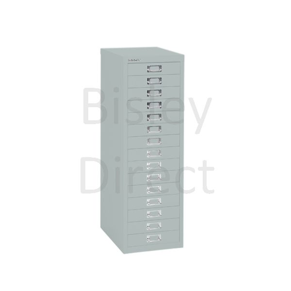 Bisley 15 Drawer non-locking  Multidrawer for home or office H 86 W 28 D 38 cm H3915NL-arn-Silver