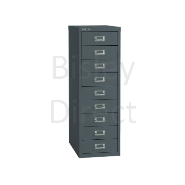 Bisley 9 Drawer non-locking  Multidrawer for home or office H 86 W 28 D 38 cm H399NL-aa3-Anthracite