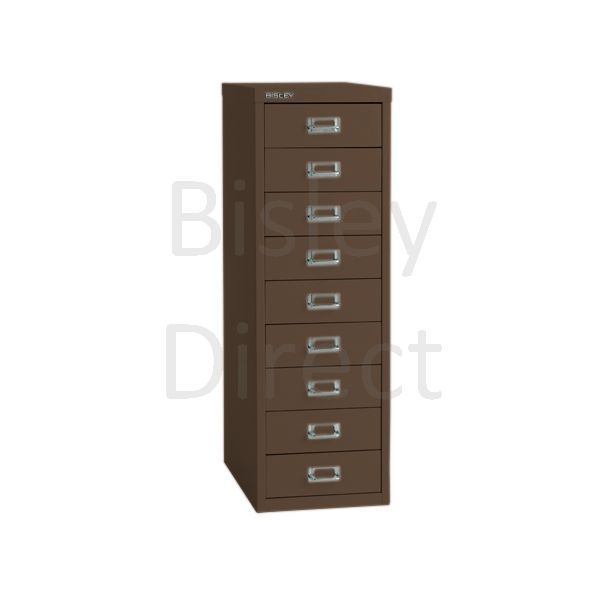 Bisley 9 Drawer non-locking  Multidrawer for home or office H 86 W 28 D 38 cm H399NL-av5-Coffee