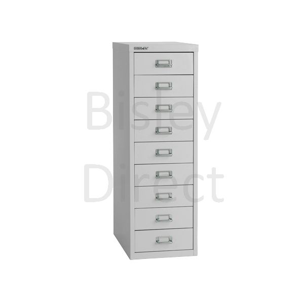 Bisley 9 Drawer non-locking  Multidrawer for home or office H 86 W 28 D 38 cm H399NL-av4-GooseGrey
