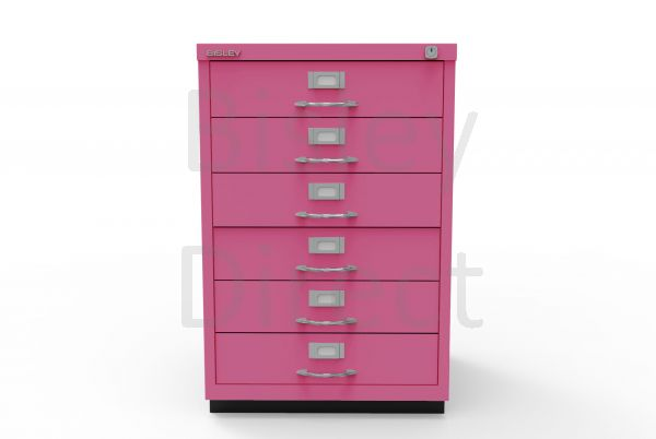 Bisley F Series 6 drawer filing cabinet Classic Front H 71 W 47 D 47cm  049-be2-Fuschia