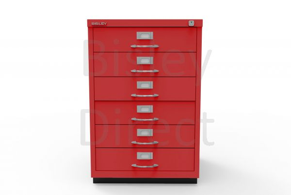 Bisley F Series 6 drawer filing cabinet Classic Front H 71 W 47 D 47cm  049-ay8-CardinalRed