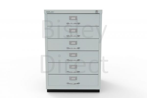 Bisley F Series 6 drawer filing cabinet Classic Front H 71 W 47 D 47cm  049-arn-Silver