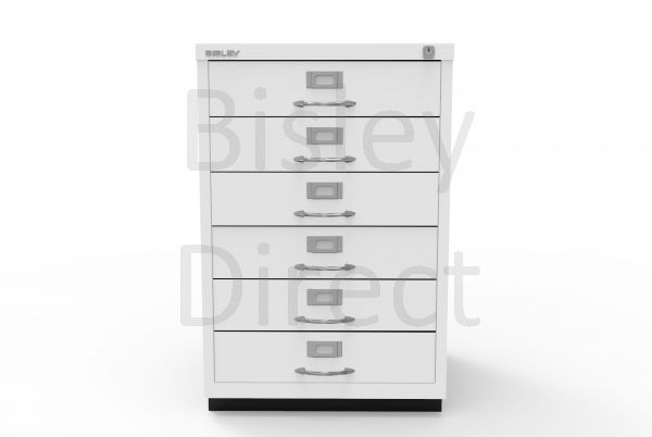 Bisley F Series 6 drawer filing cabinet Classic Front H 71 W 47 D 47cm  049-ba5-TrafficWhite