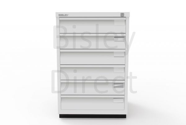 Bisley F Series 6 drawer filing cabinet Flush Front H 71 W 47 D 47cm  0493-av7-LightGrey
