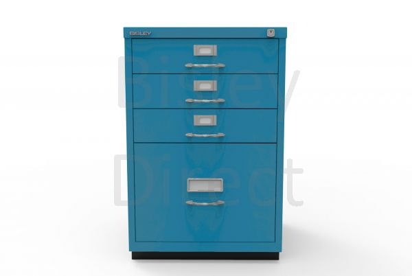 Bisley F Series 4 drawer filing cabinet Classic Front H 71 W 47 D 47cm  050-bp5-Azure