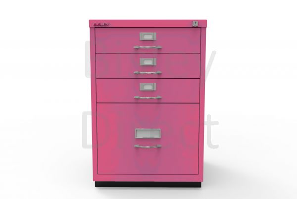 Bisley F Series 4 drawer filing cabinet Classic Front H 71 W 47 D 47cm  050-be2-Fuschia
